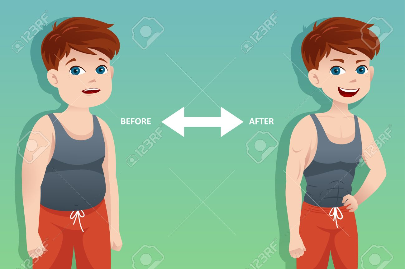 A vector  illustration of weight loss concept of a man before and after diet Stock Vector - 23652961