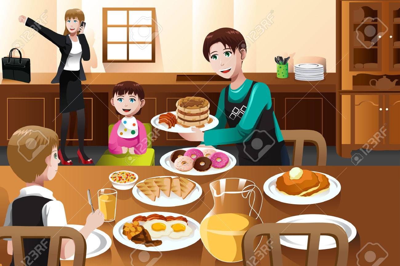 A vector illustration of a stay at home father eating breakfast with his kids  while mom is getting ready to go to work Stock Vector - 23724581