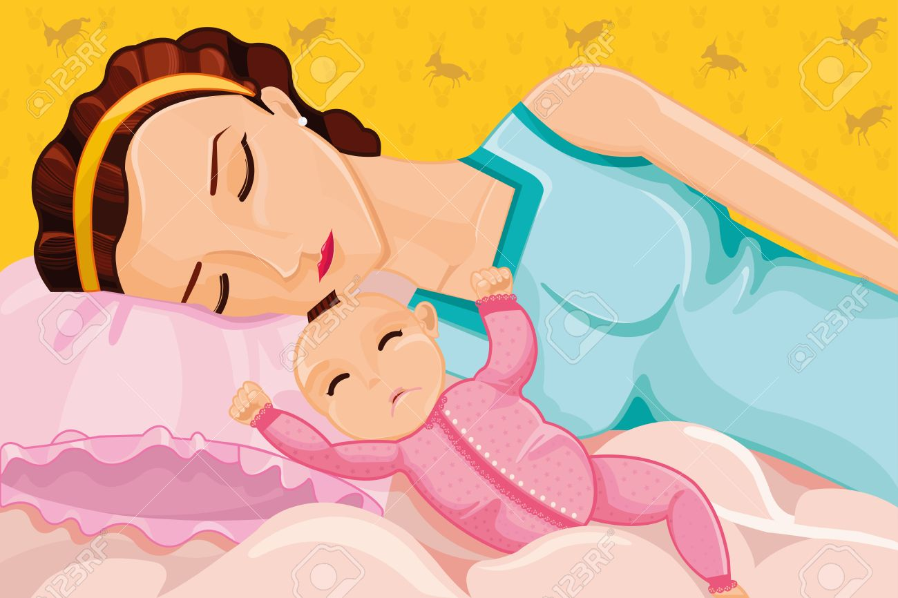 A vector illustration of mother sleeping with a baby on bed Stock Vector - 24026401