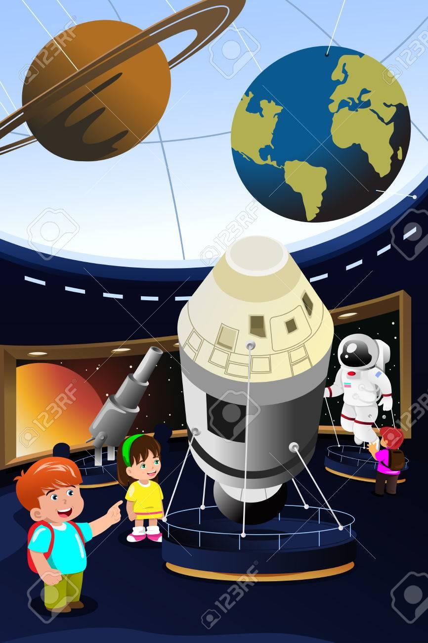 プラネタリウムへの遠足で幸せな子供のベクトル イラスト