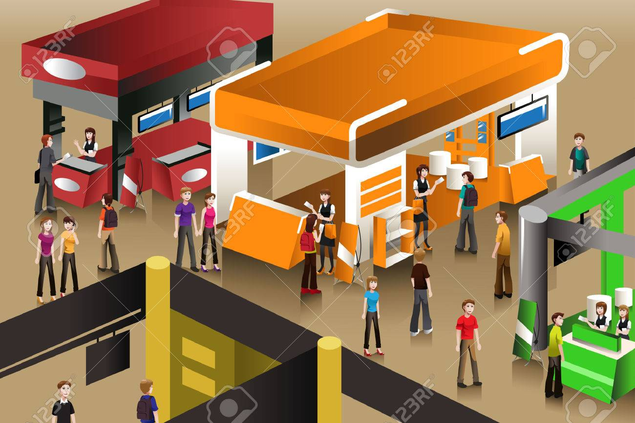 A vector illustration of peoples looking at an exhibition booths - 25243911
