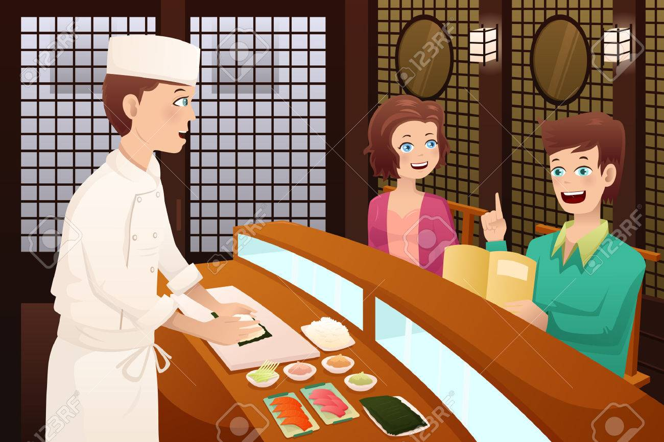 A vector illustration of customers ordering sushi in a restaurant Stock Vector - 25516306