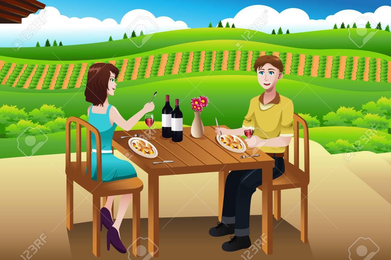 Una ilustración vectorial de par de comer almuerzo al aire libre en una bodega Foto de archivo - 25651567