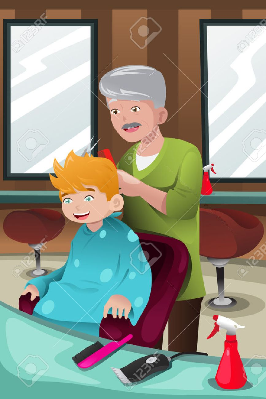Illustration Of Kid Getting A Haircut At Barber Shop Stock Vector