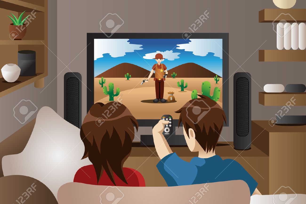 A Illustration Of Modern Couple Watching Television In The Living Room Stock Vector