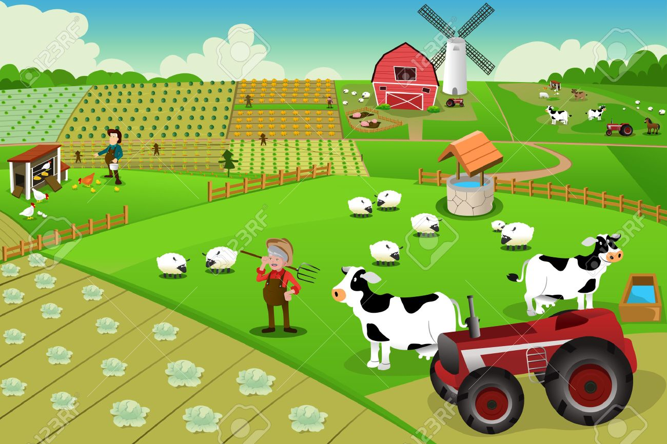 illustration of farm life viewed from above Stock Vector - 26497155