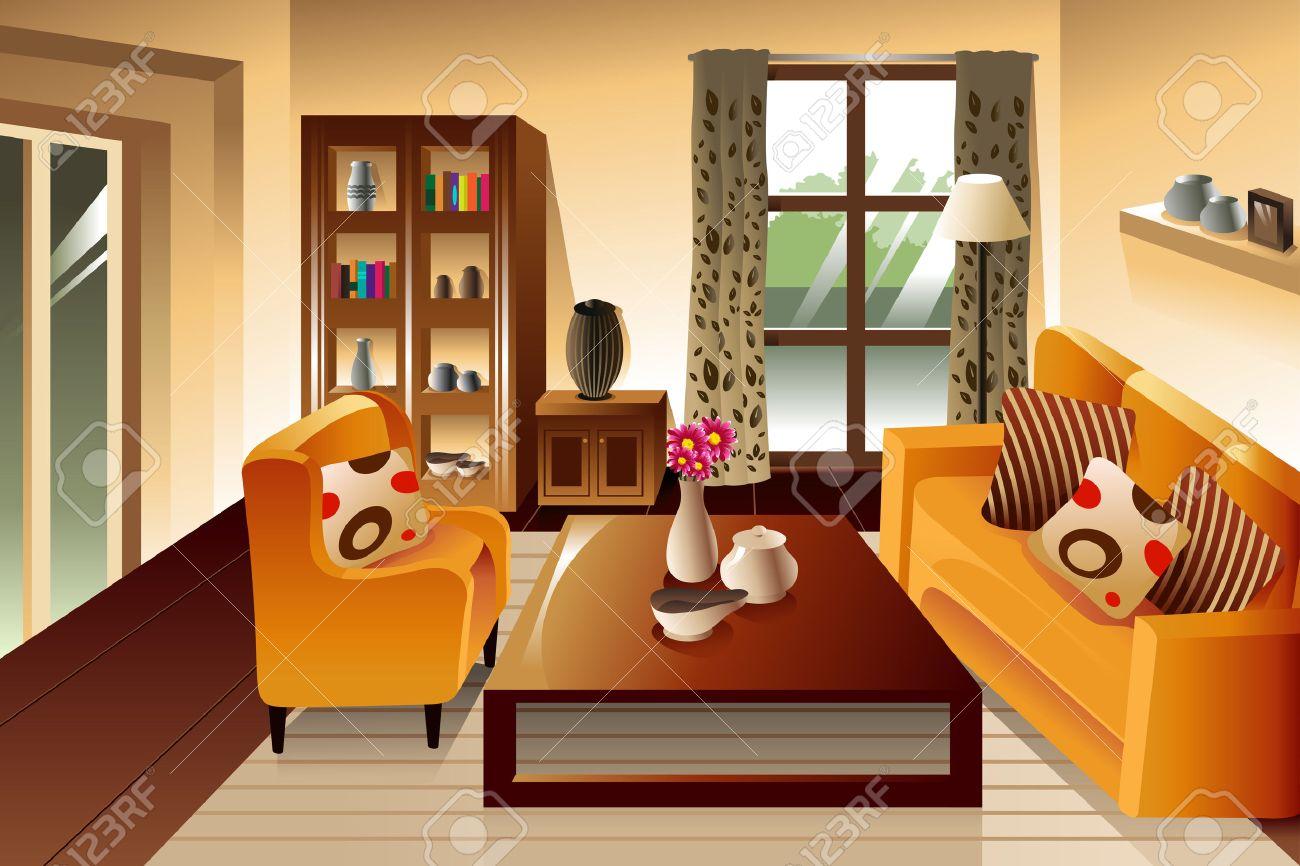 Wohnzimmer couch fenster lizenzfreie vektorgrafiken kaufen: 123rf