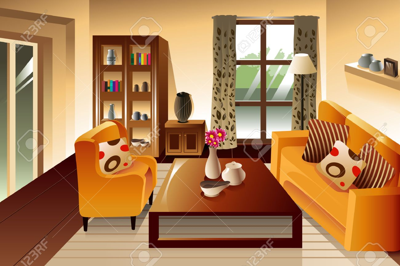 Illustration Of Modern Living Room Space Stock Vector