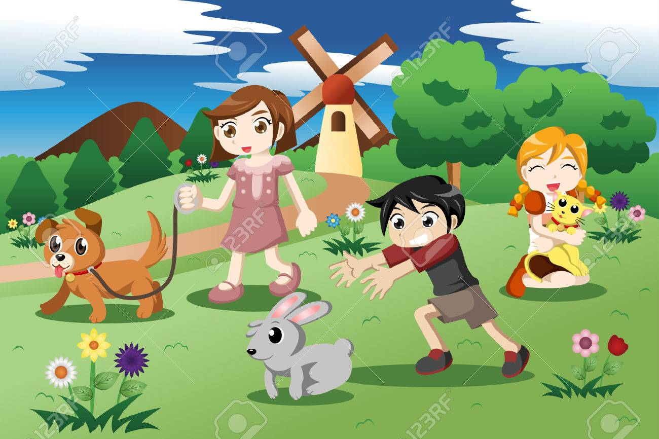 Illustration Of Cute Kids Playing With Their Pets In The Garden