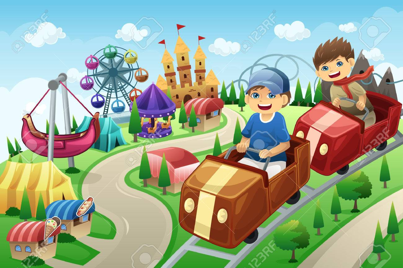 Clip Art Amusement Park Clipart a vector illustration of kids having fun in an amusement park stock 26934040