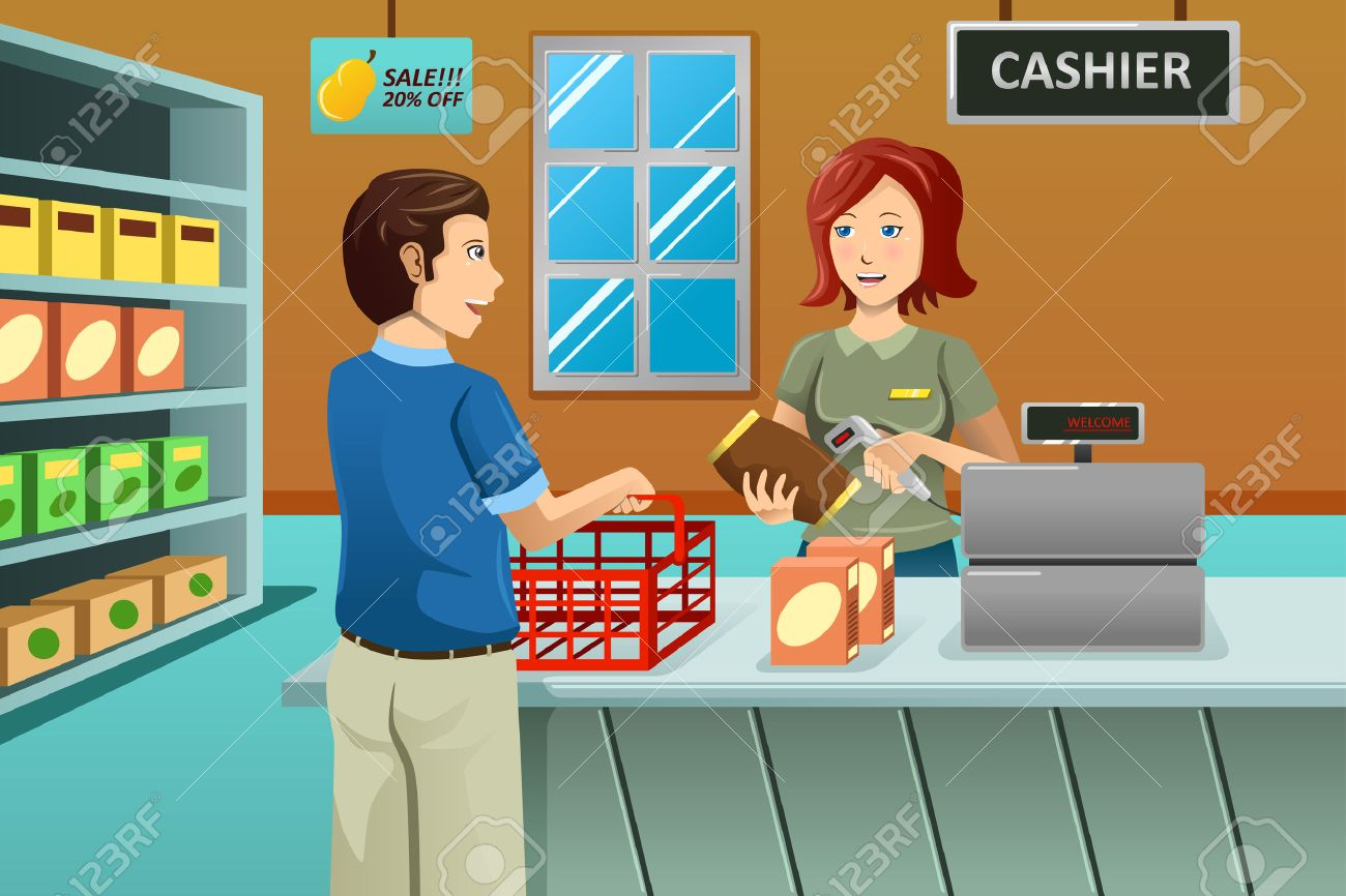 A vector illustration of cashier working in the grocery store serving a customer Foto de archivo - 26934205