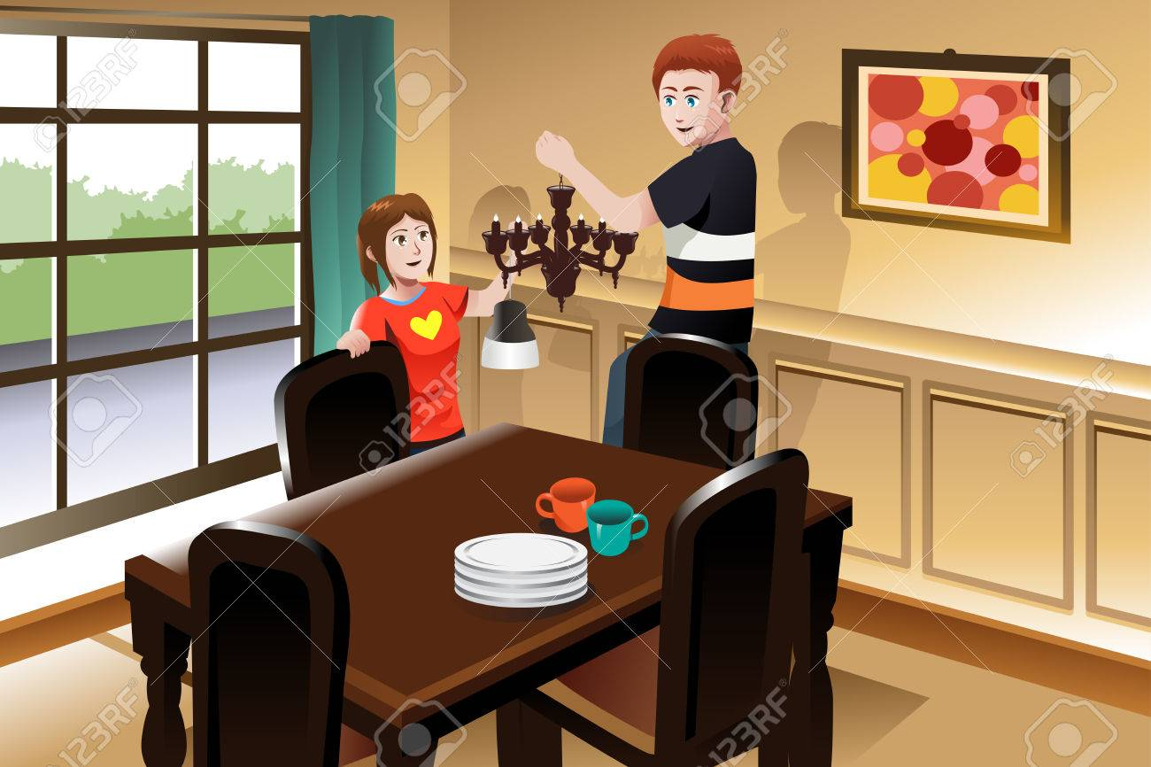 A Vector Illustration Of Young Couple Changing Lighting Fixture In The Dining Room To Chandelier