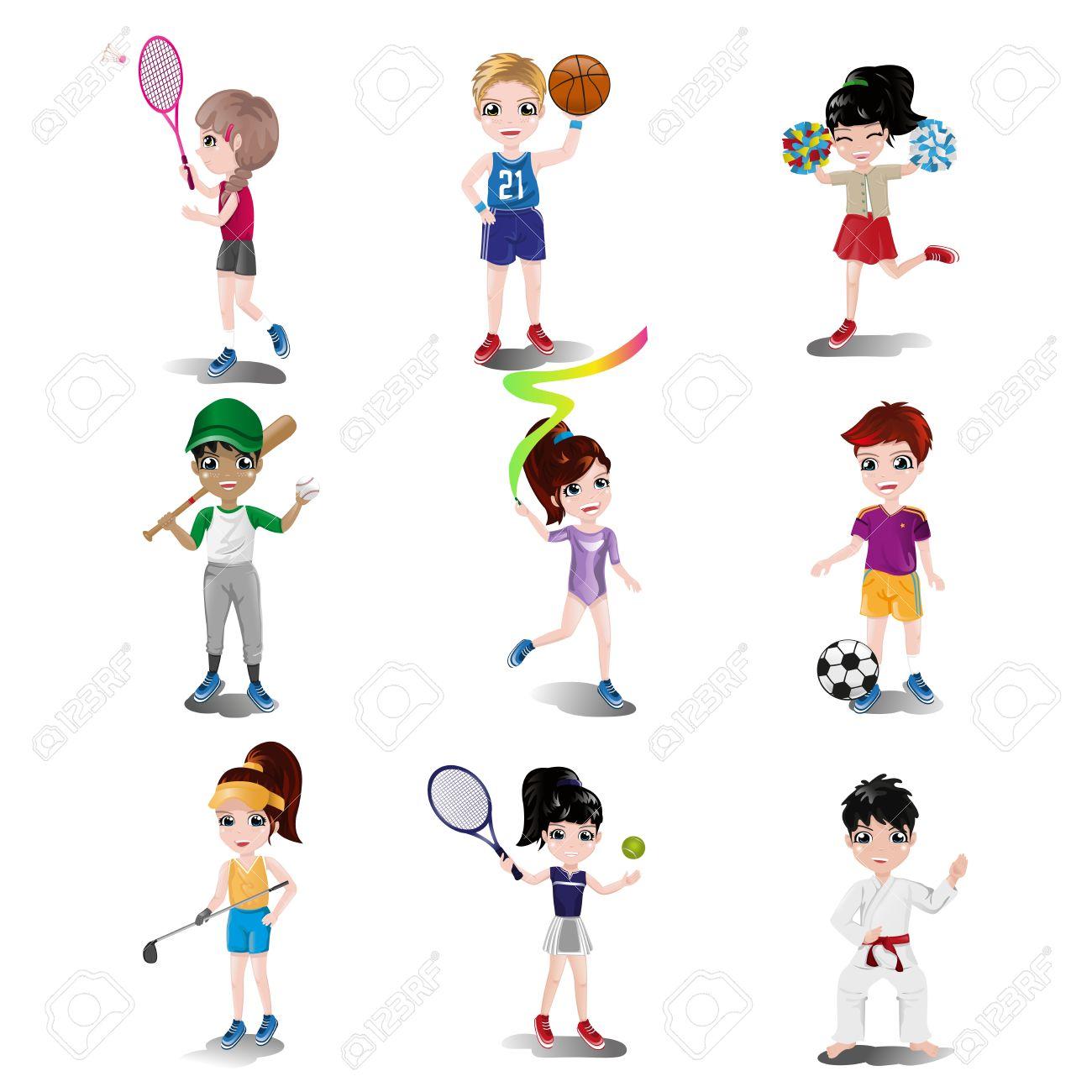 子供の運動やさまざまなスポーツのイラスト ロイヤリティフリー