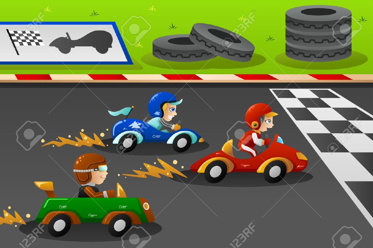 cartoon car an illustration of happy kids in a car racing illustration - Cartoon Picture For Kids