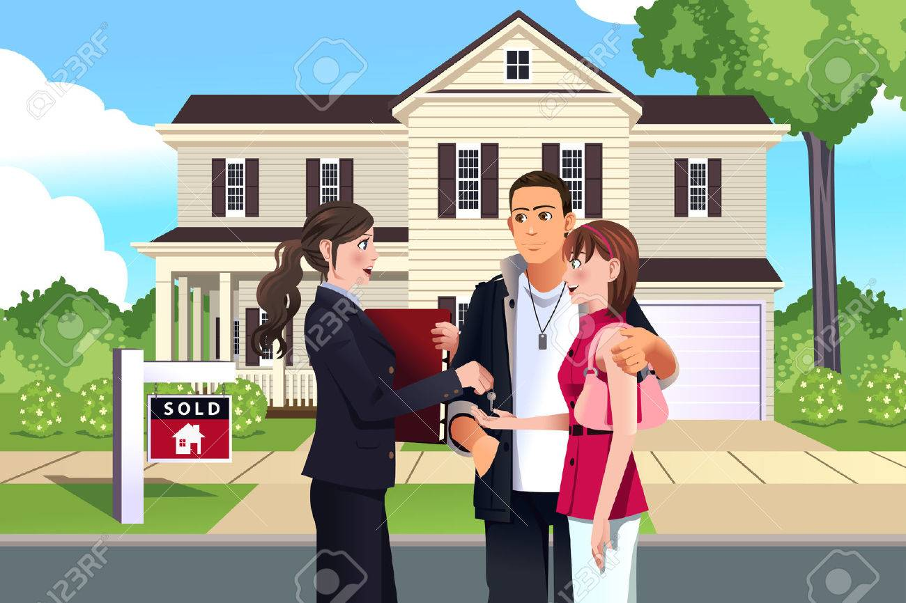 Illustration Of Real Estate Agent In Front Of A Sold House With ...