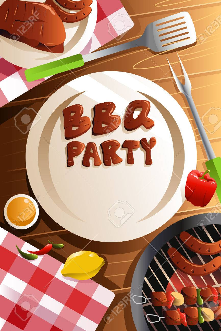 illustration of barbeque party poster design royalty free cliparts