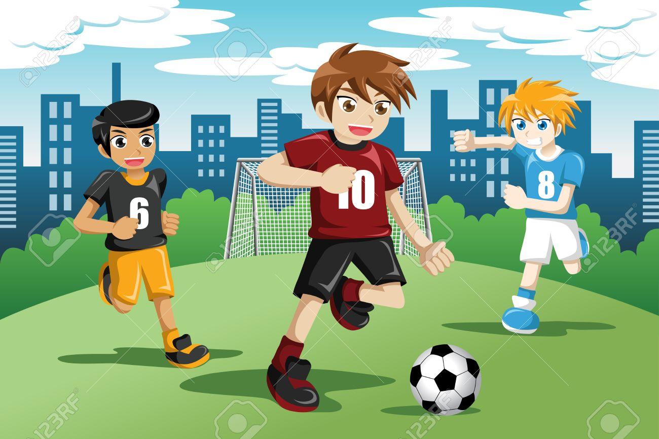 Ilustracion De Ninos Felices Jugando Al Futbol Ilustraciones