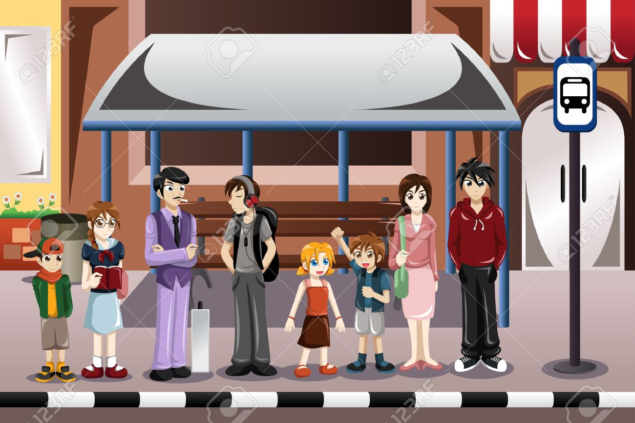 illustration of people waiting for a bus in a bus stop - 28649824