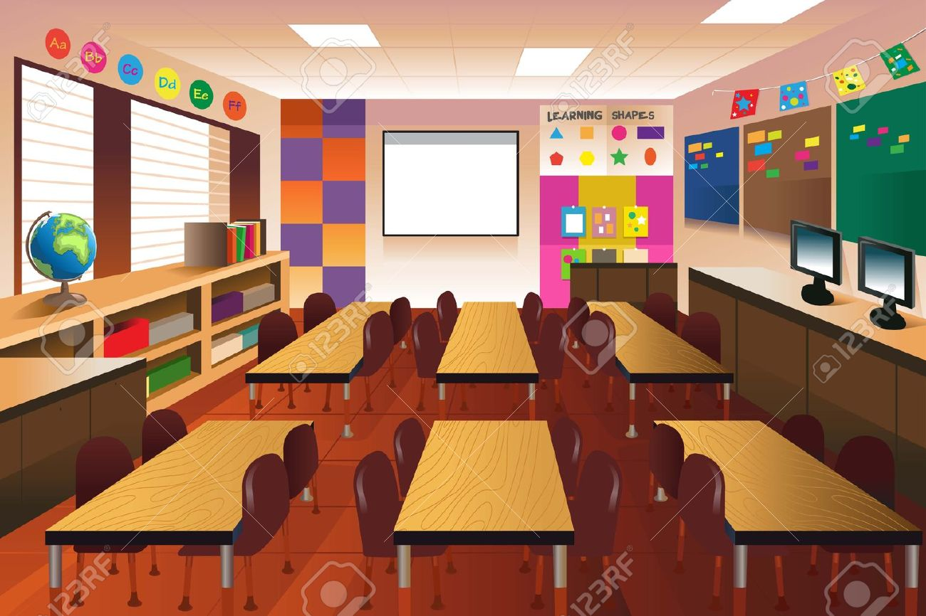 an illustration of empty classroom for elementary school royalty