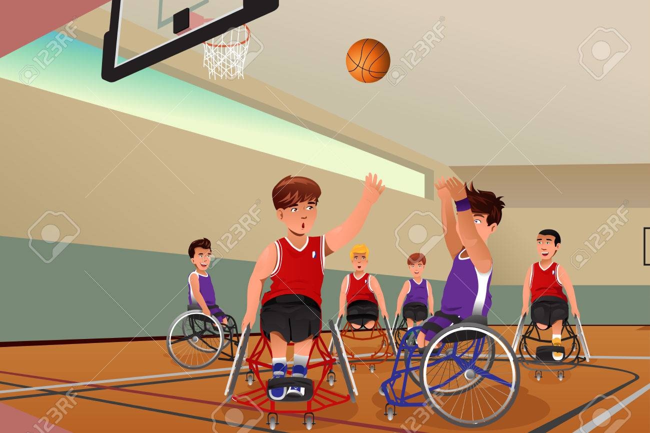 an illustration of men in wheelchairs playing basketball in the