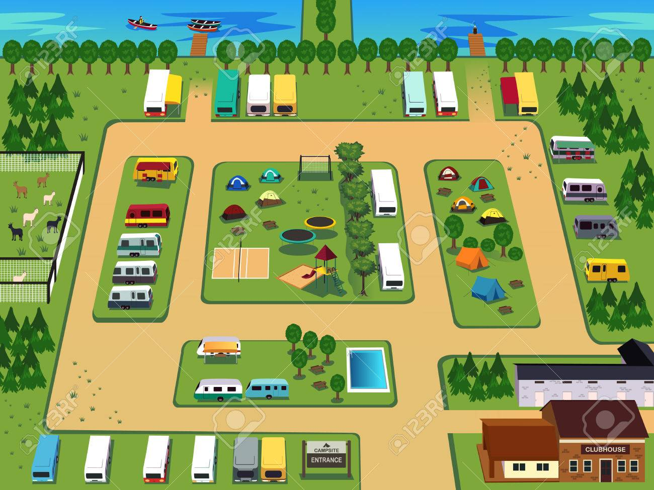 Una Ilustracion Del Mapa Del Camping Diseno Ilustraciones
