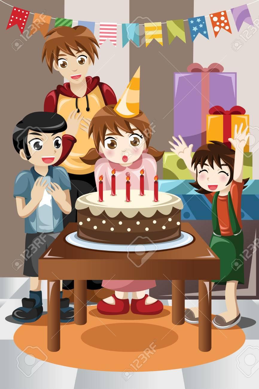 子供の誕生日パーティーを祝うのイラストのイラスト素材ベクタ Image