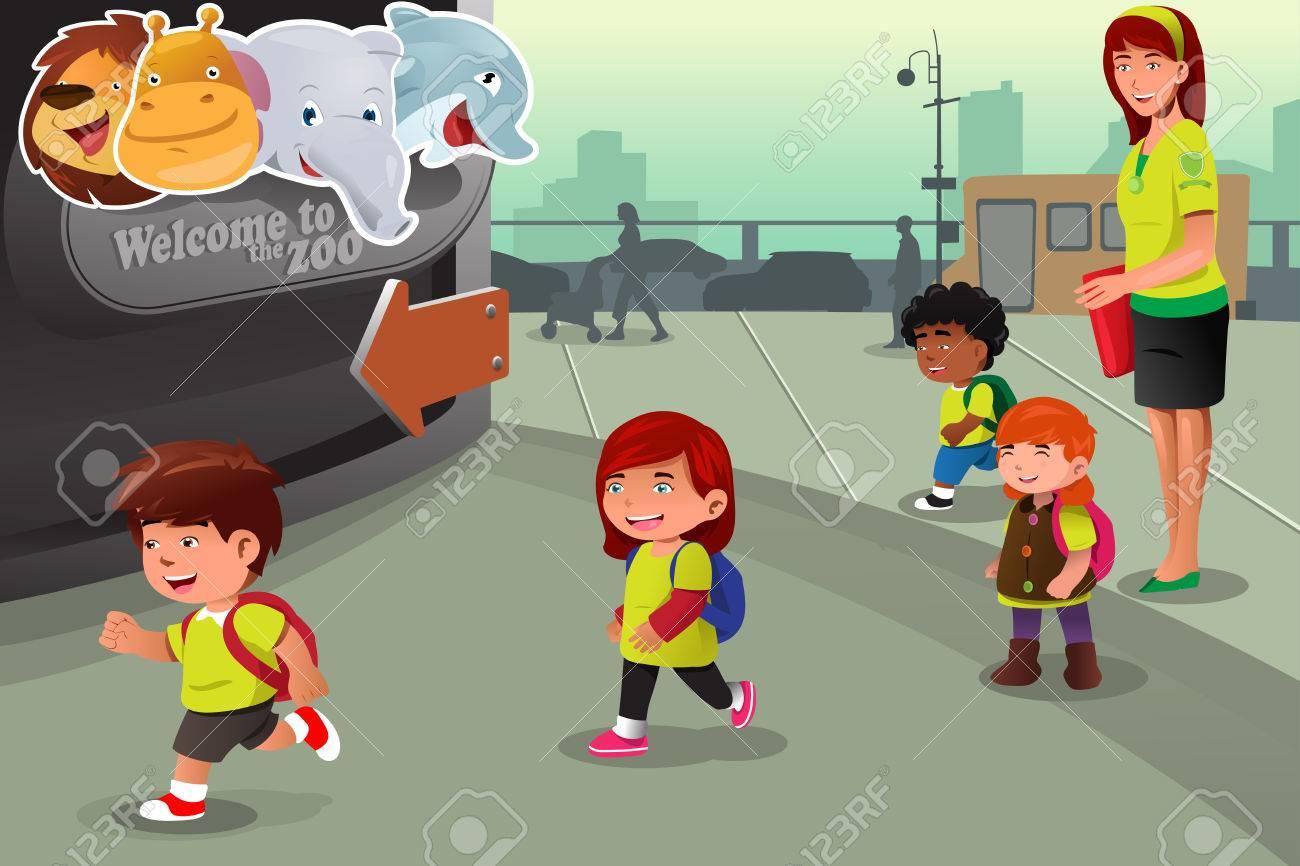 学校の遠足に動物園のベクトル イラスト ロイヤリティフリークリップ