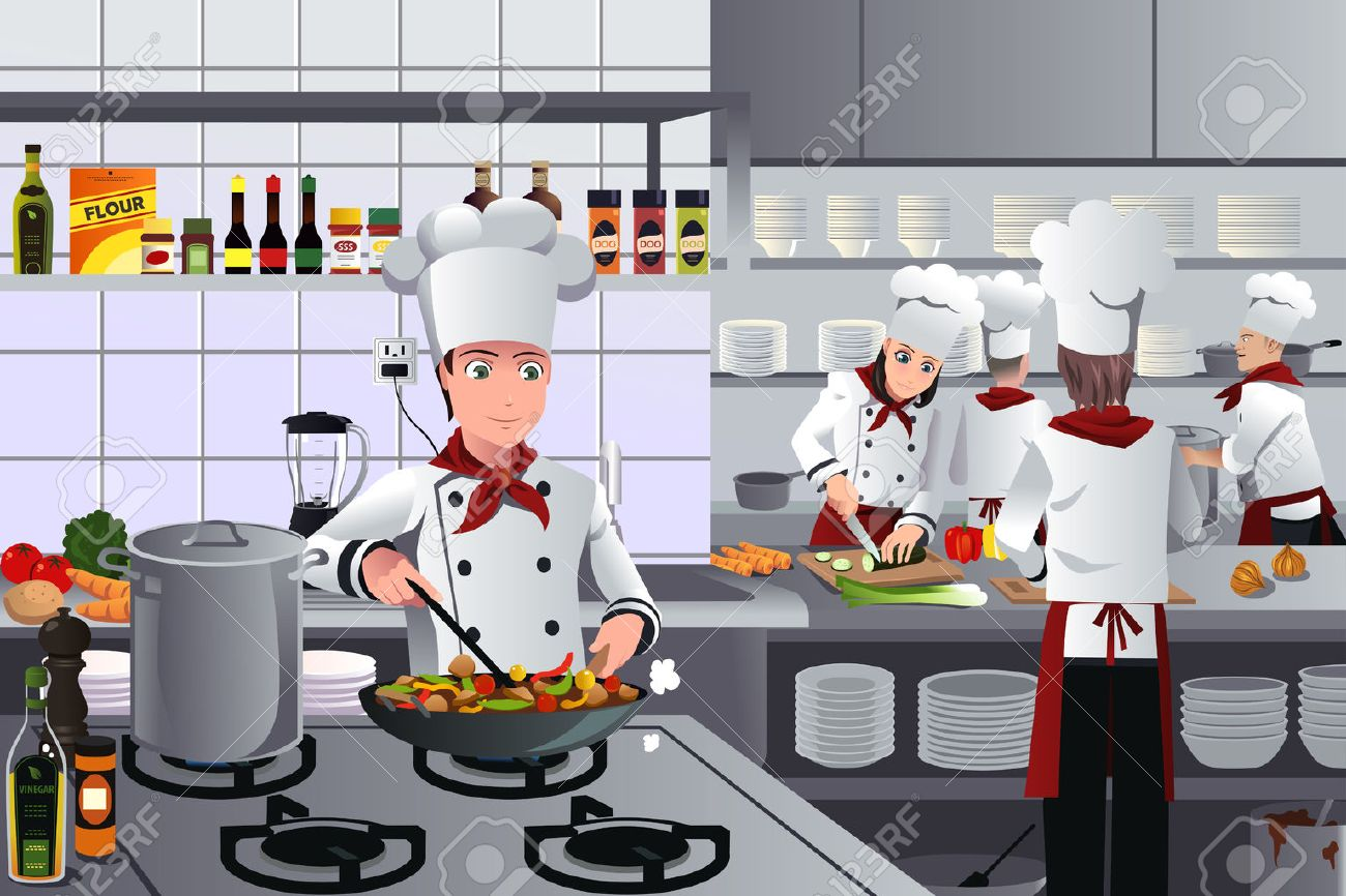 Restaurant Kitchen Illustration a vector illustration of scene inside a busy modern restaurant