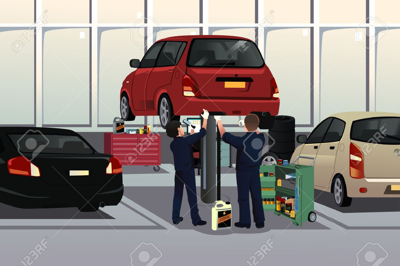 A vector illustration of auto mechanic fixing a car under the hood in the auto repair garage - 32142278