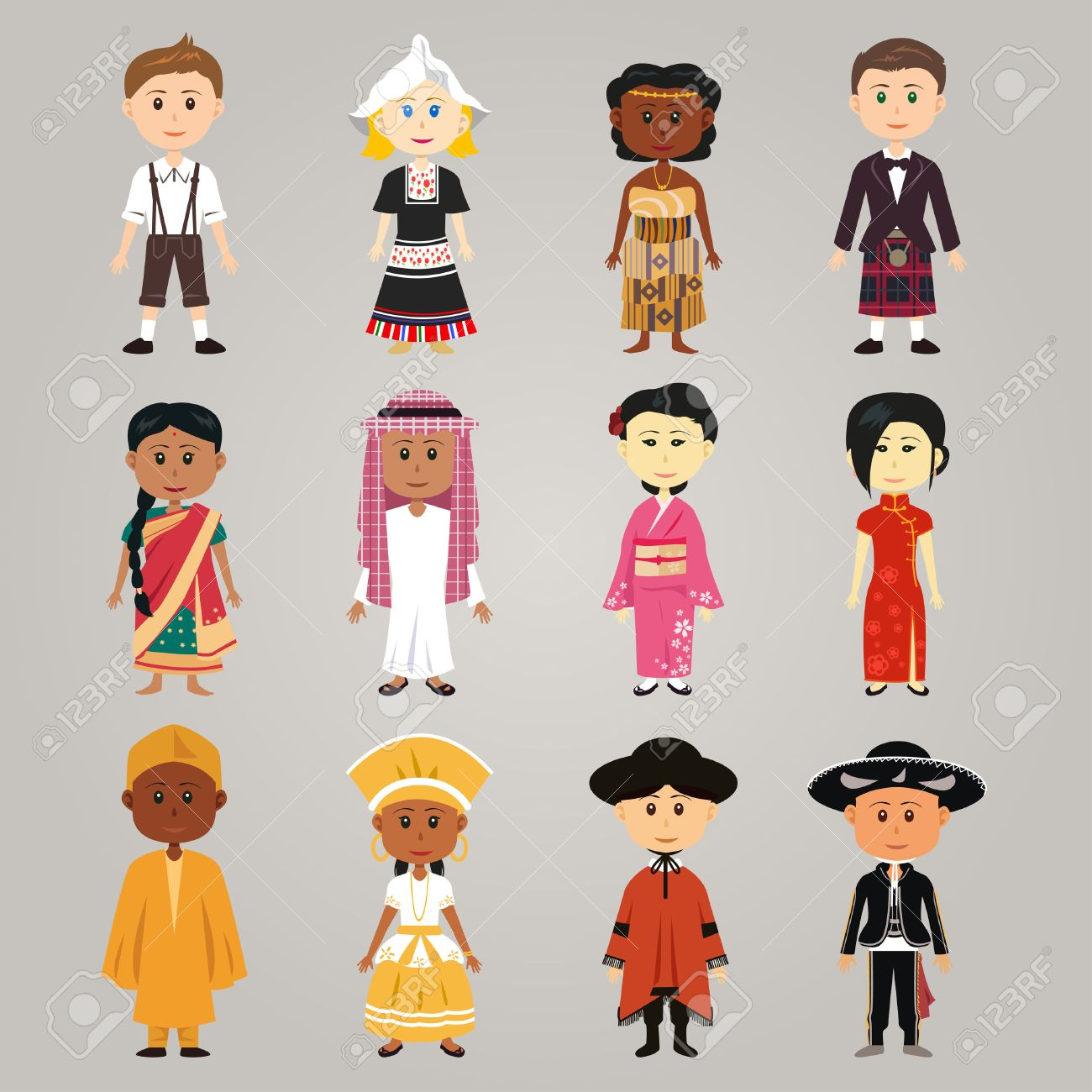 A vector illustration of different  ethnic people wearing their traditional costume Foto de archivo - 32363097