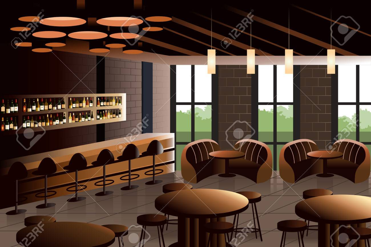 illustratie van restaurant interieur met industrile look stockfoto 32516051