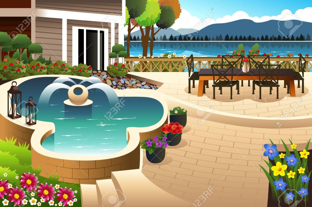 illustration of beautiful backyard garden royalty free cliparts