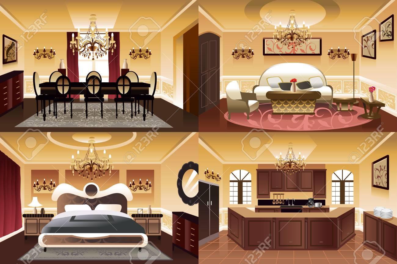 Ein Vektor-Illustration Der Zimmer Im Haus In ähnlichen Stil Und ...