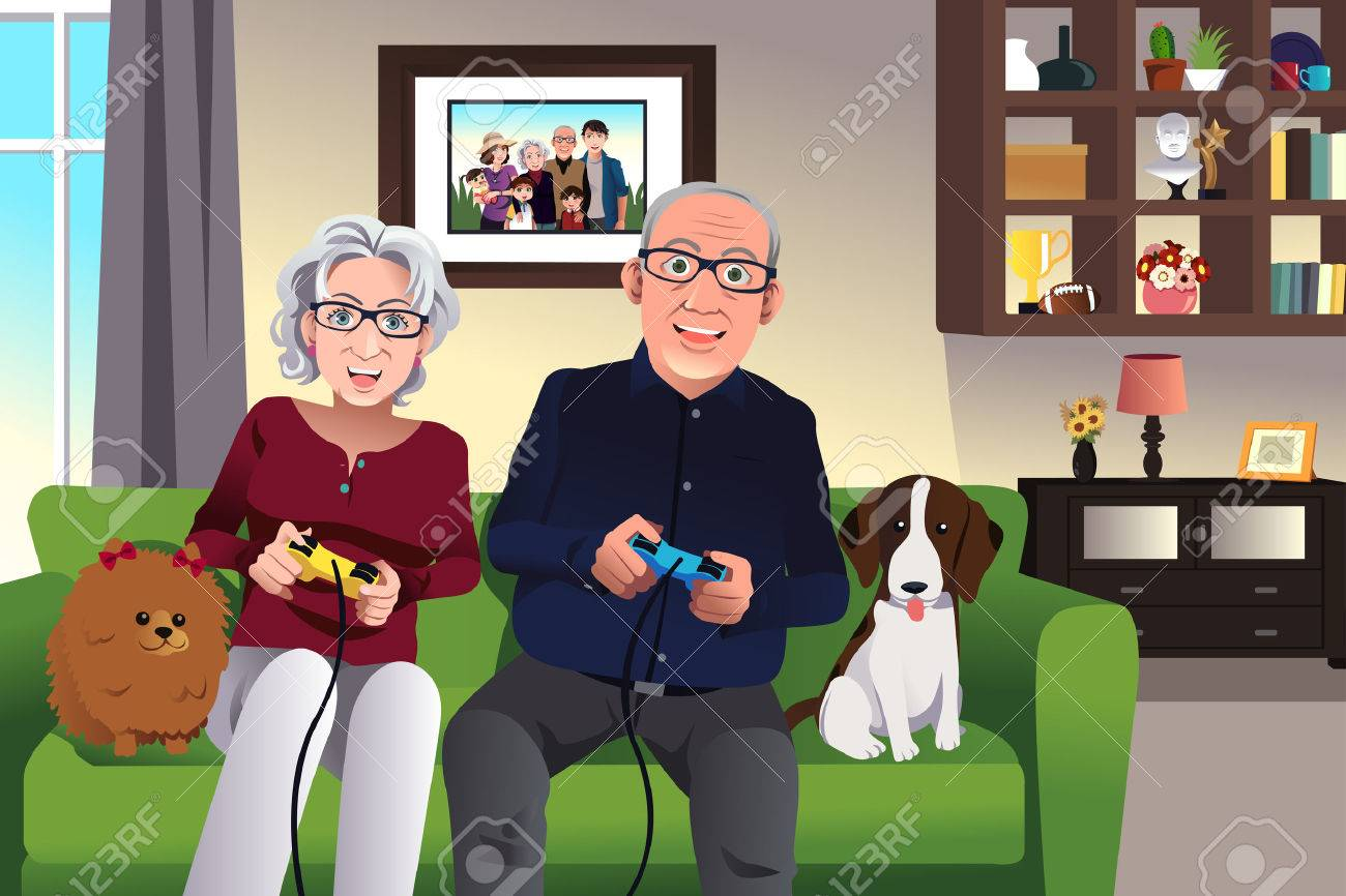 Illustration of elderly couple playing games at home - 35291944