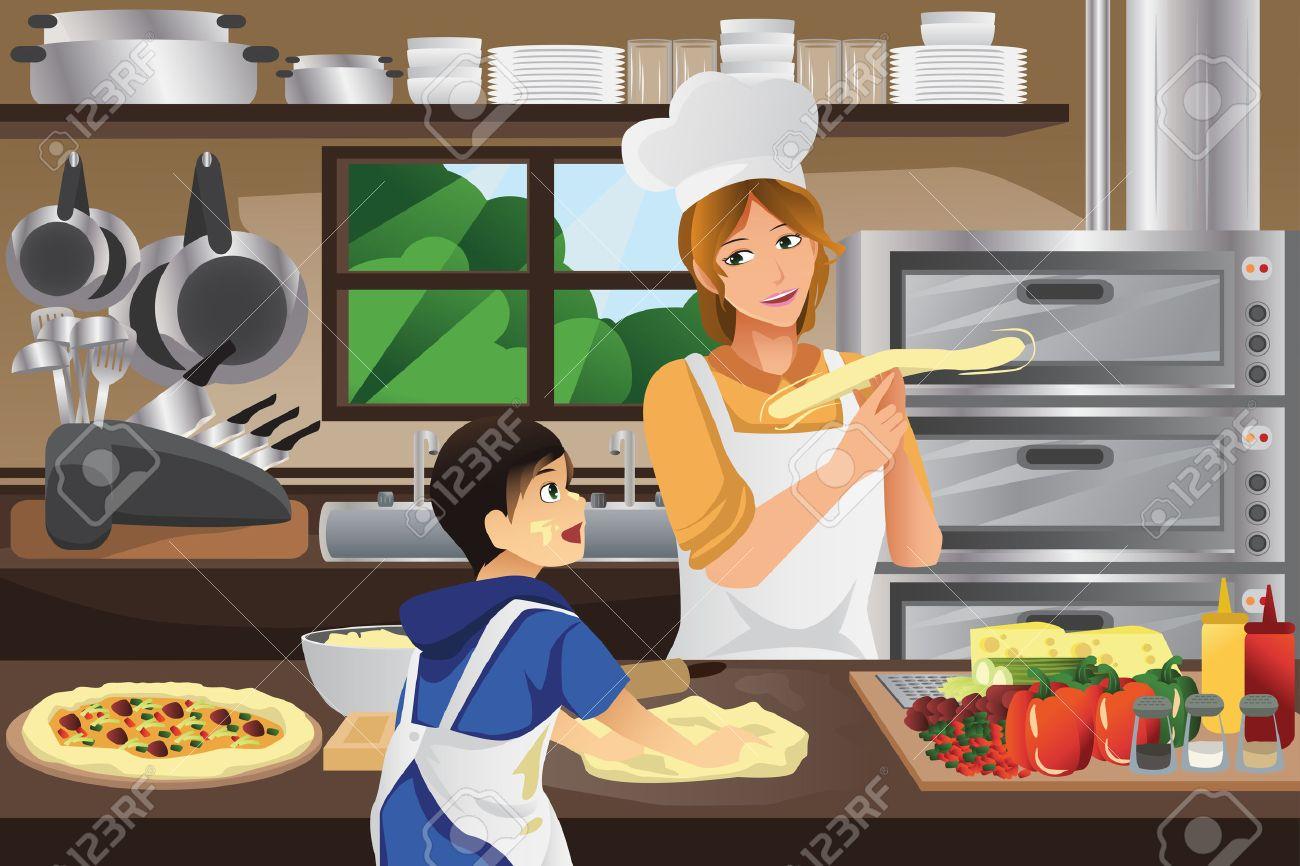 Мать и сын на кухне онлаин