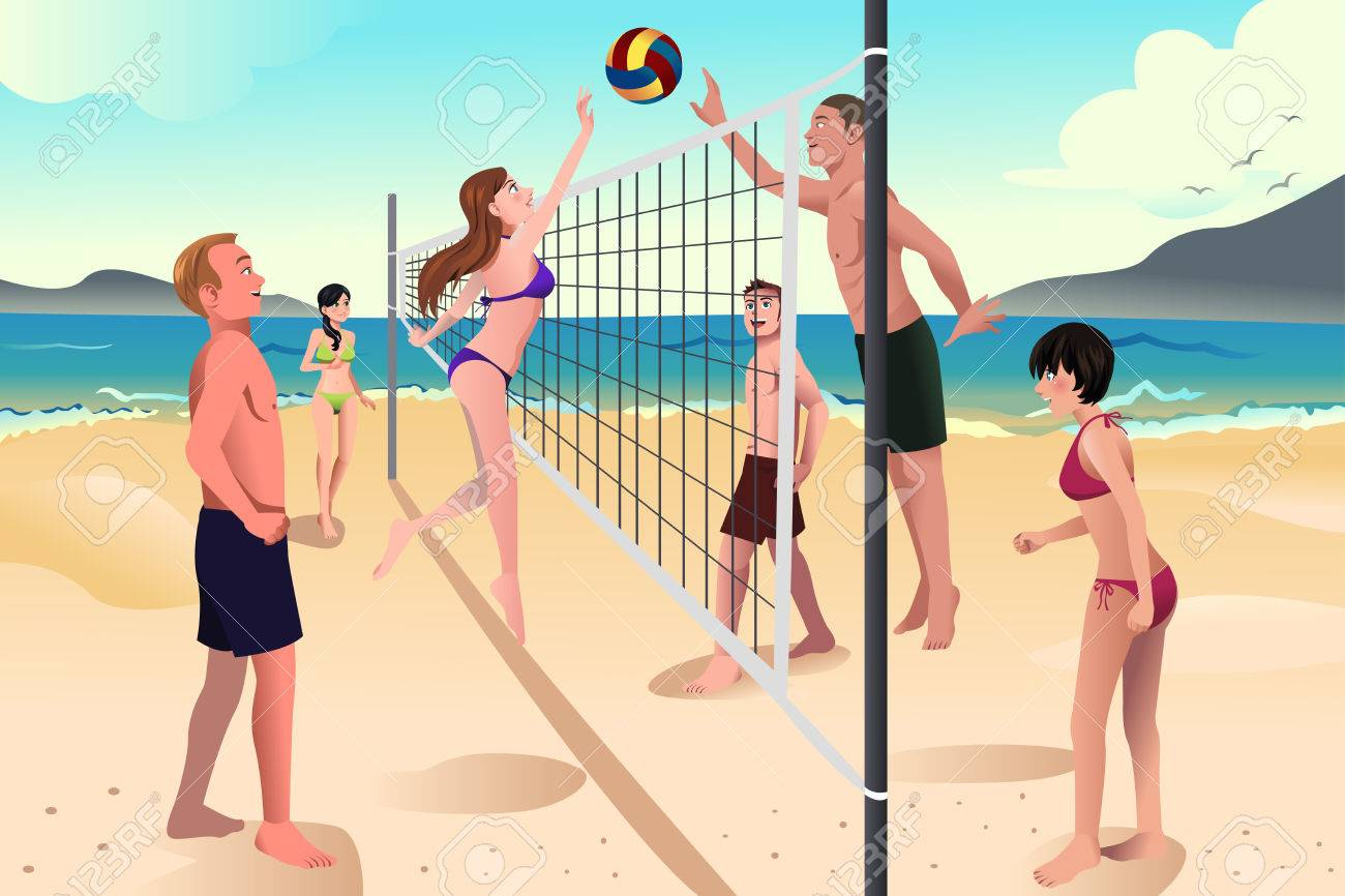 a illustration of happy young people playing beach volleyball rh 123rf com free beach volleyball clipart Beach Clip Art
