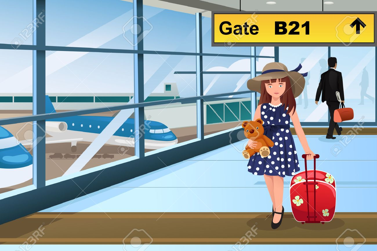 A Vector Illustration Of Little Cute Girl Traveling In The Airport Stock