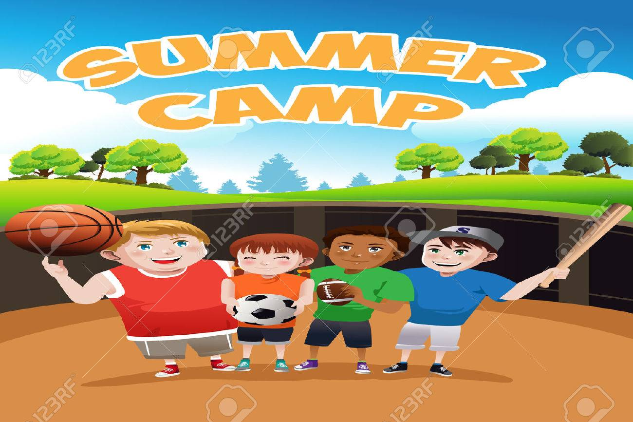 A Vector Illustration Of Kids Summer Camp Flyer Royalty Free ...