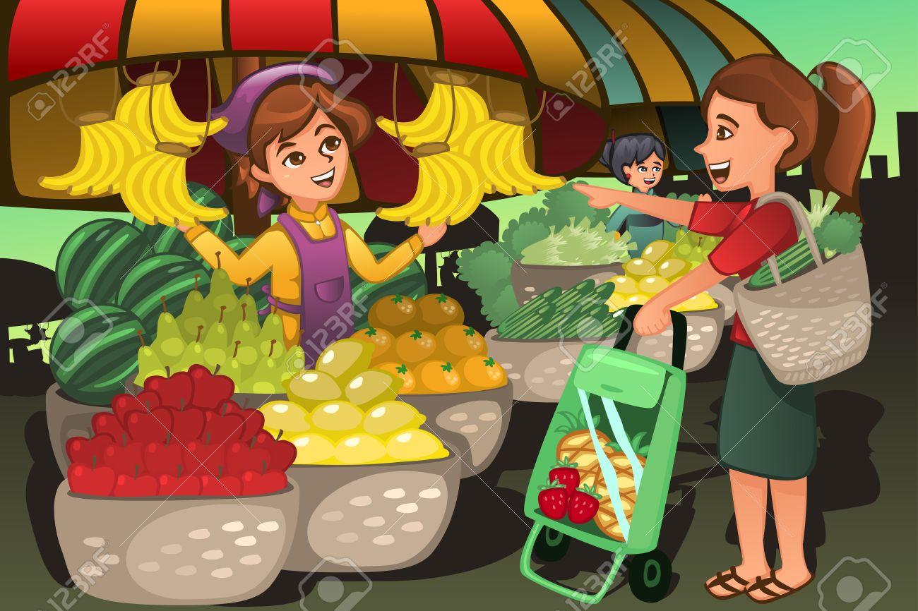 A vector illustration of fruit seller at the farmers market with a customer - 37634963
