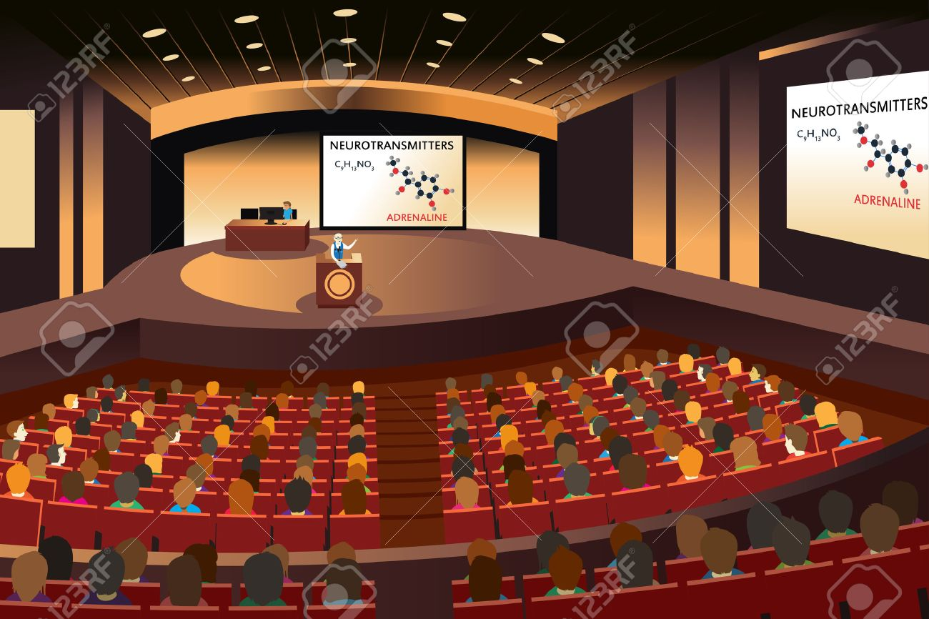 A vector illustration of a presentation in a conference in an auditorium - 37723757