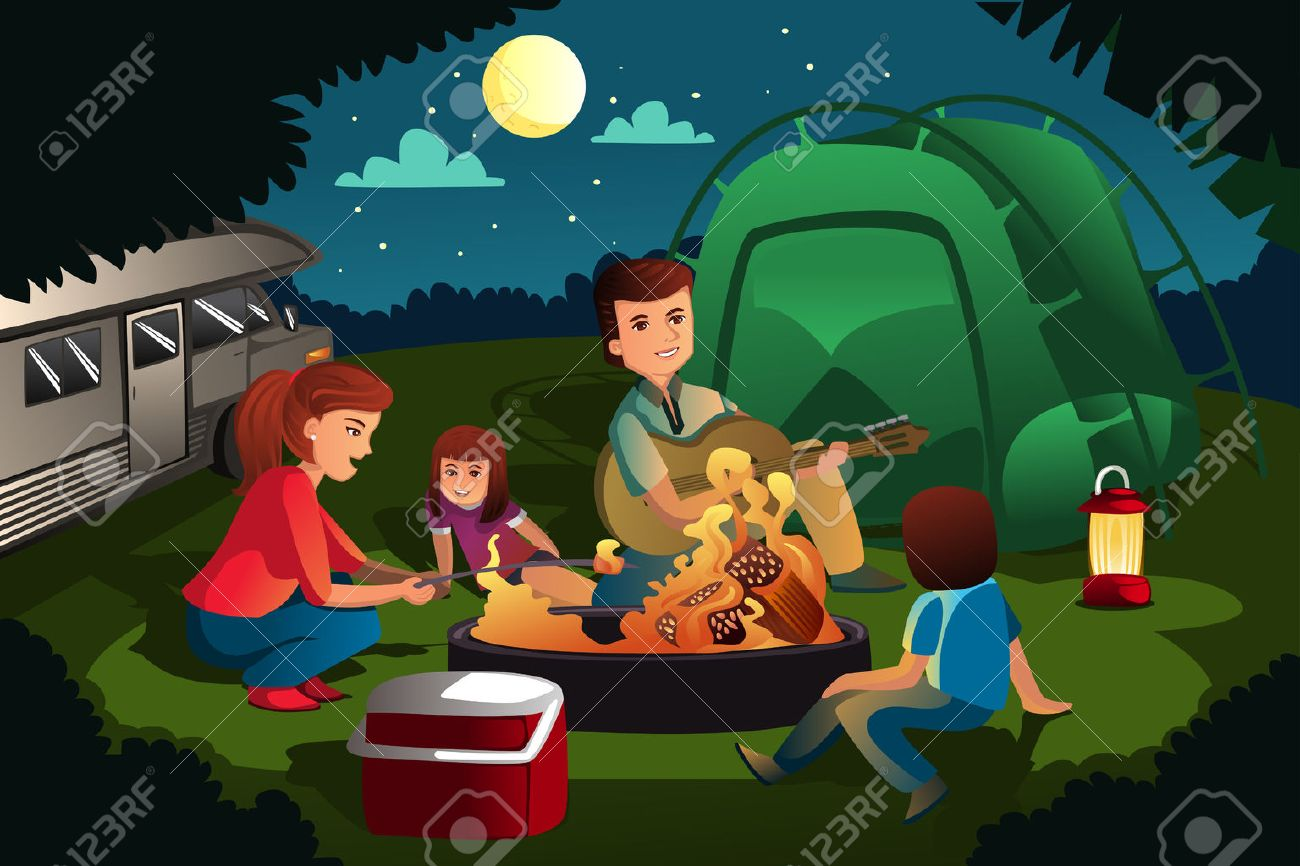 A Vector Illustration Of Family Camping In The Forest Stock
