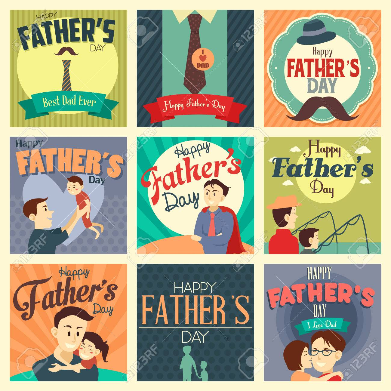 A vector illustration of father's day cards with ornament Stock Vector - 38626918