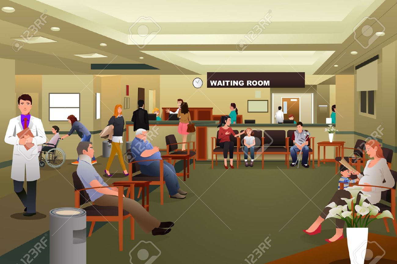 A illustration of patients waiting in a hospital waiting room Stock Vector - 38632015