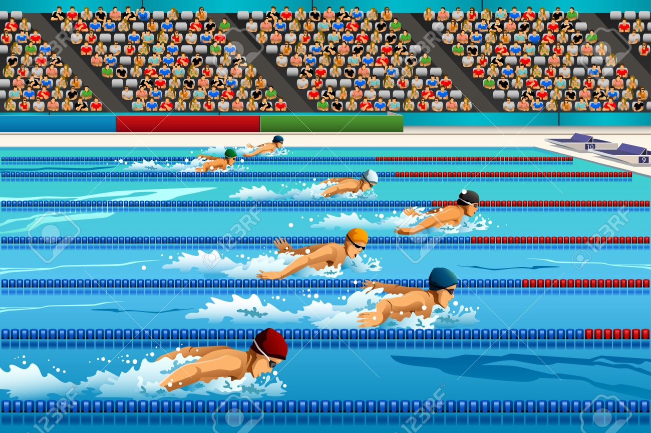 competitive swimming pool clipart a illustration of swimmers during swimming competition for sport series stock - Olympic Swimming Pool Lanes
