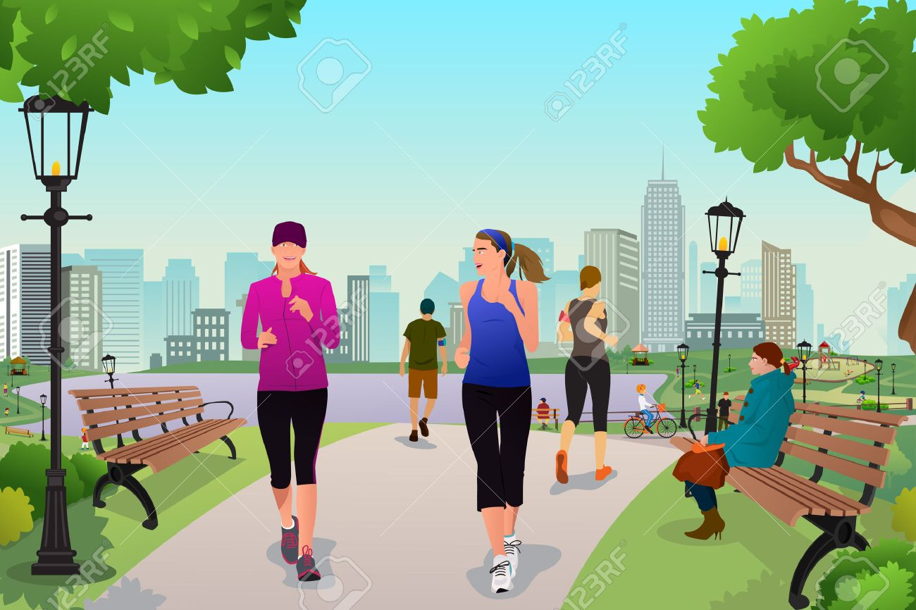 A illustration healthy women running in a park Stock Vector - 38635386