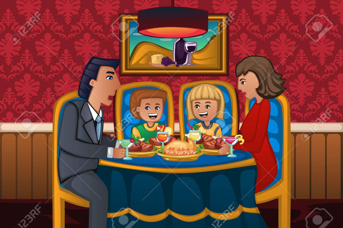 A Vector Illustration Of Happy Family Eating Dinner Together Stock