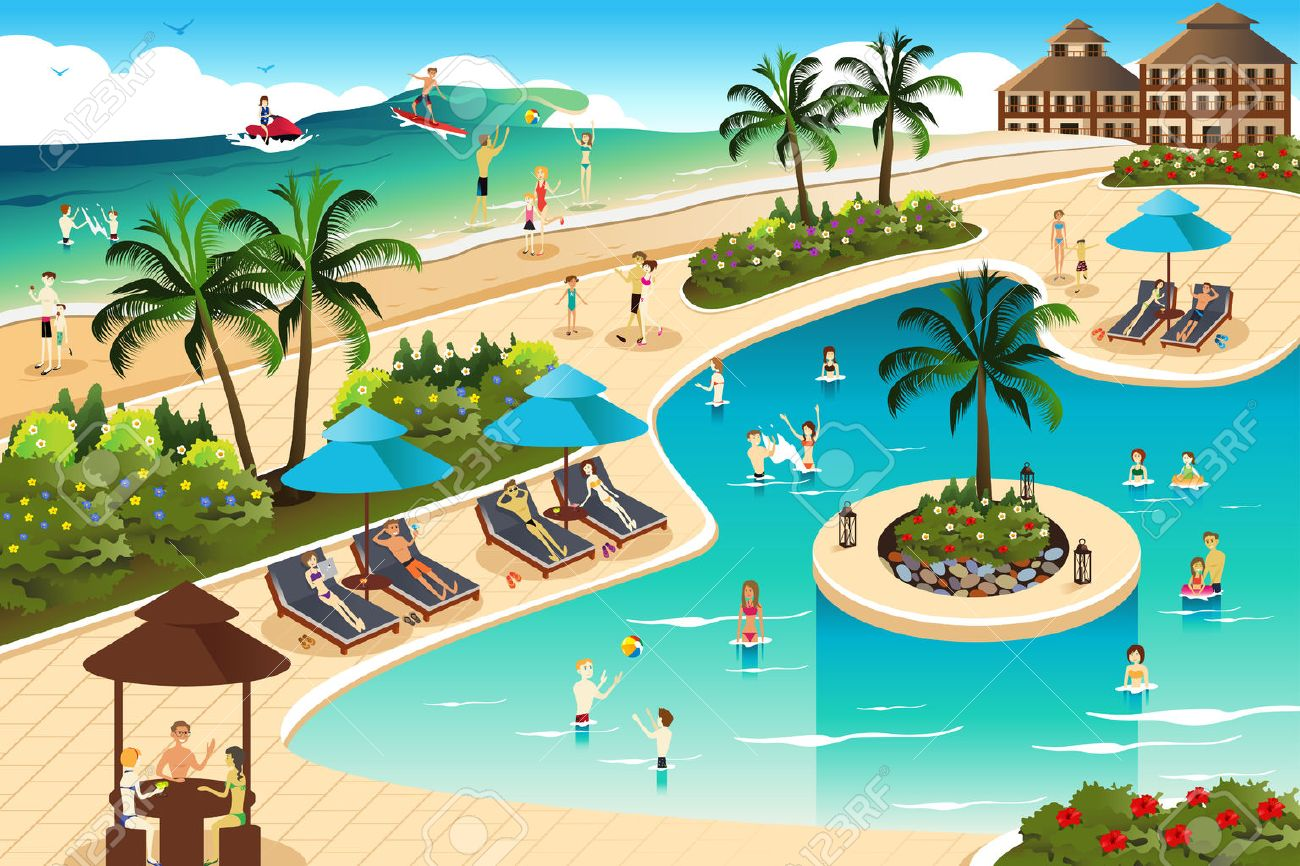 A vector illustration of scene in a tropical resort Stock Vector - 39308043