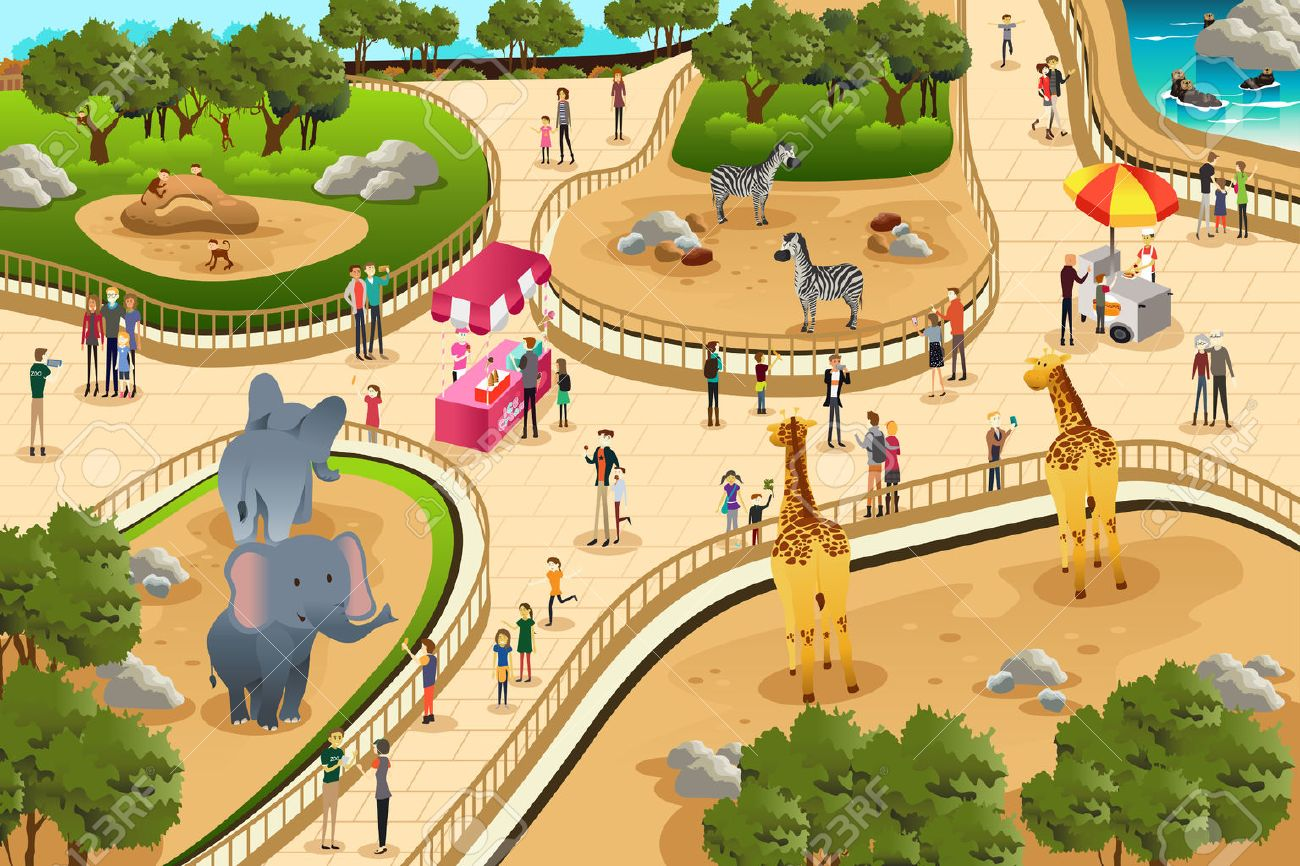 A vector illustration of scene in a zoo Stock Vector - 39308051