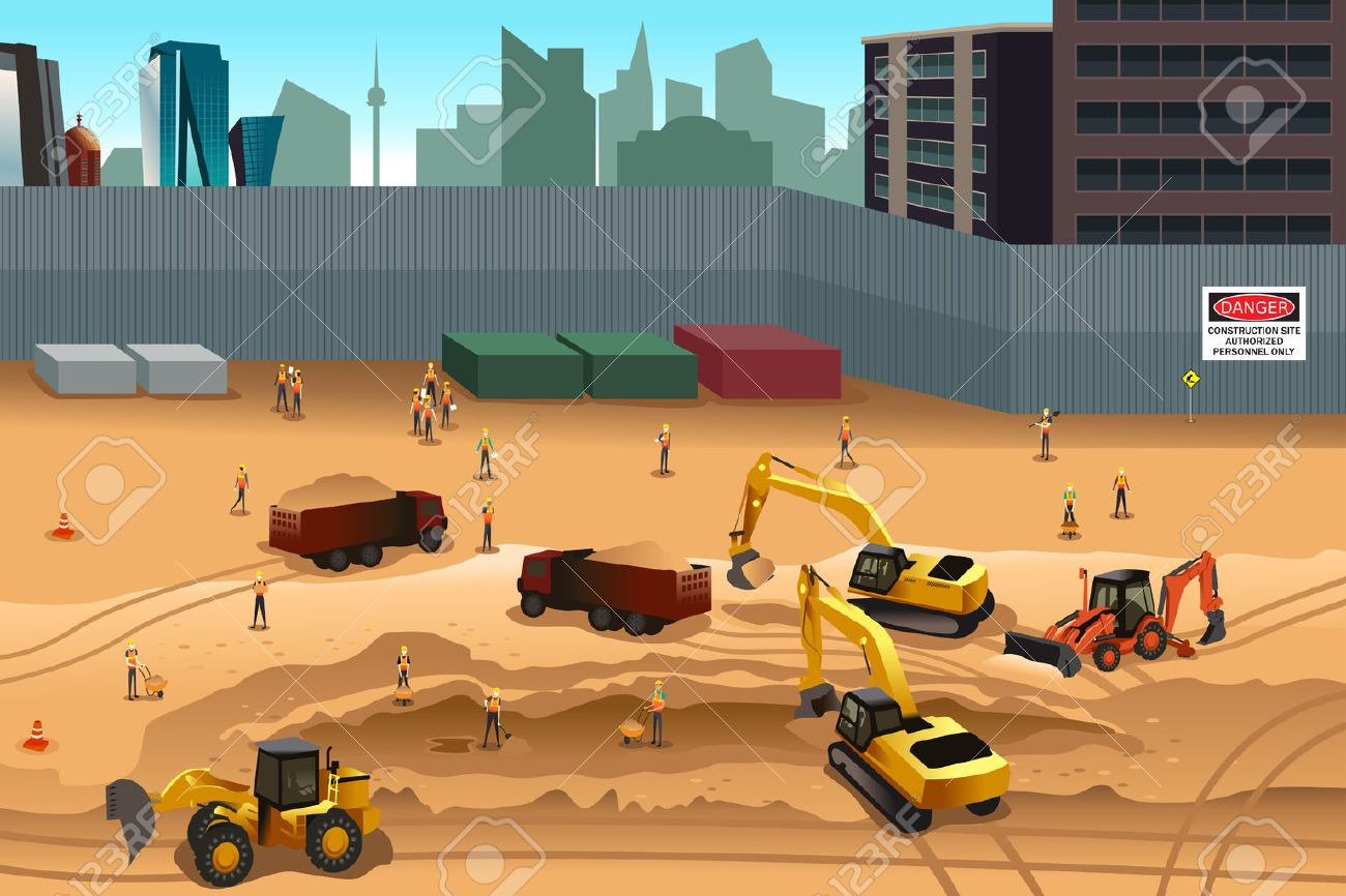 A vector illustration of scene in a construction site Stock Vector - 39638237
