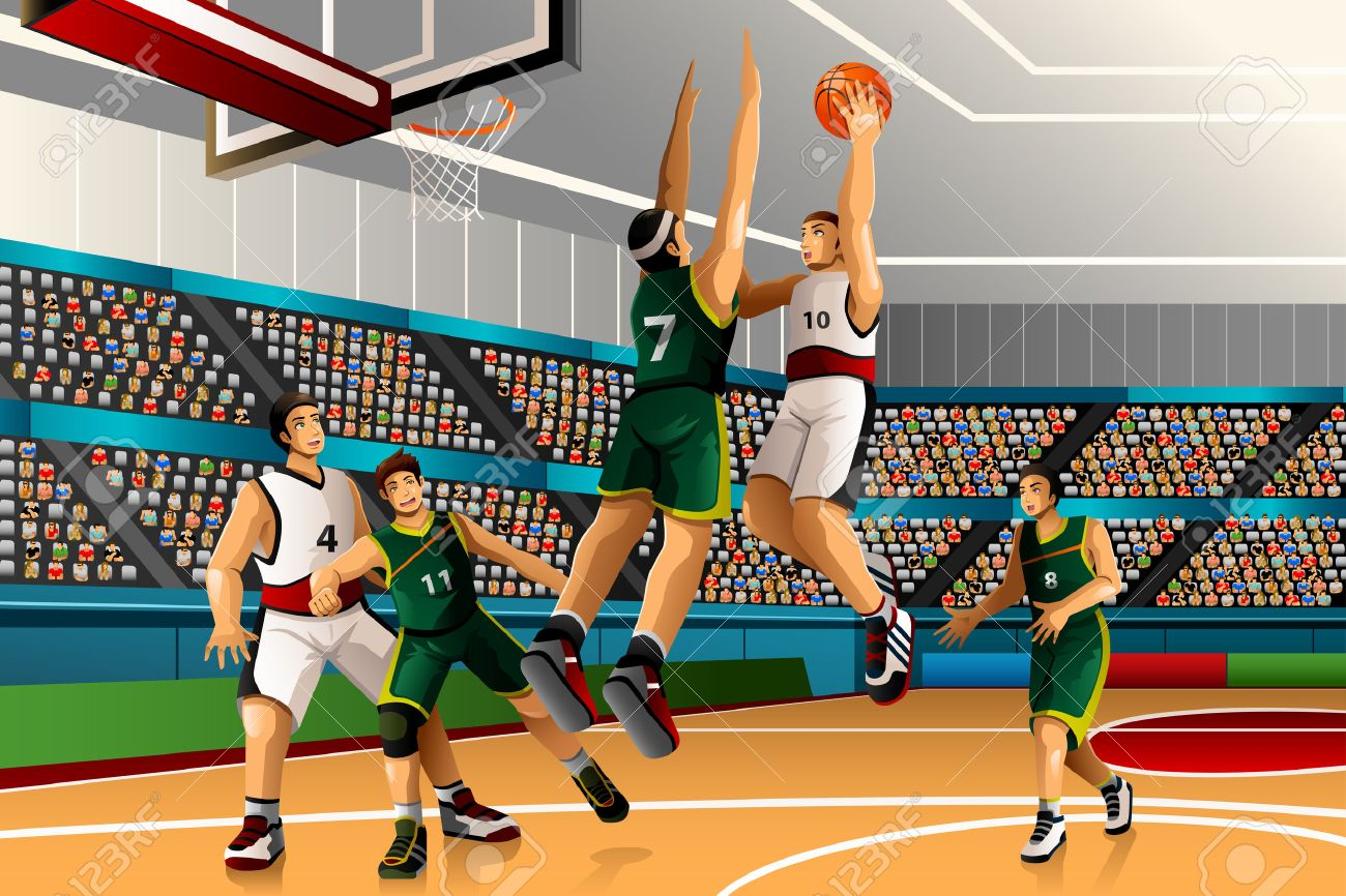 A illustration of people playing basketball in the competition for sport competition series Stock Vector - 39844730